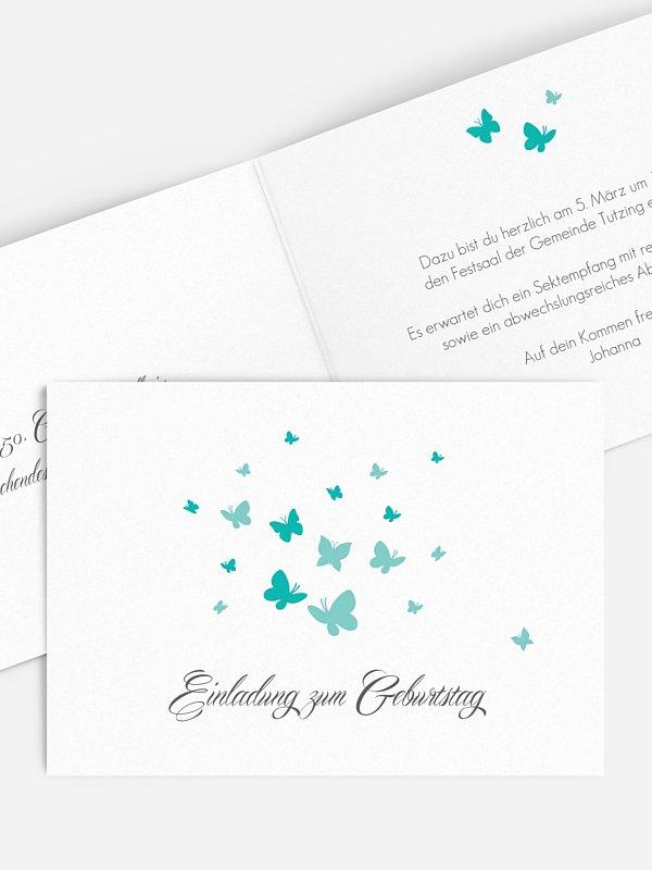 Einladung 50. Geburtstag Butterflies