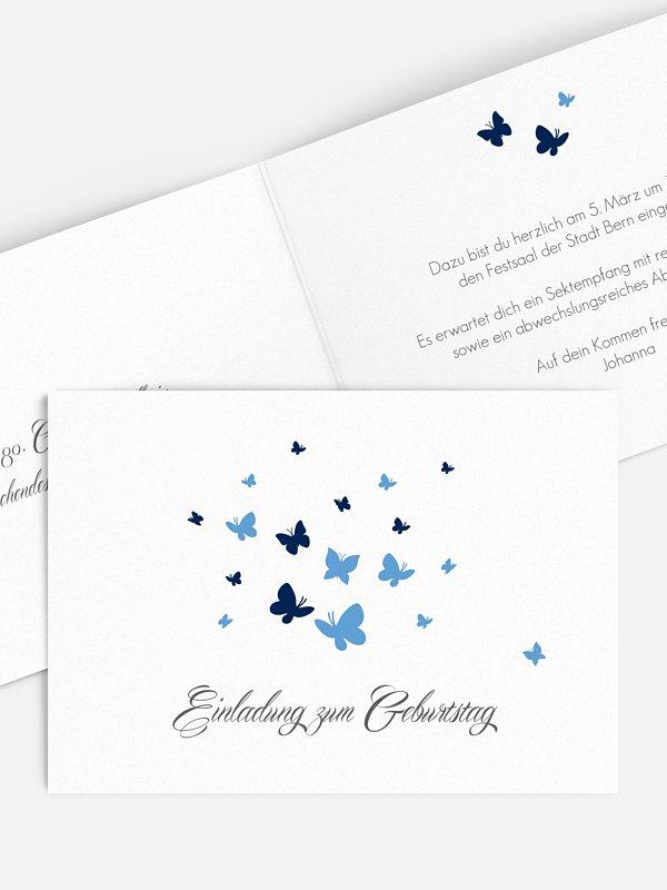 Einladung 80. Geburtstag Butterflies
