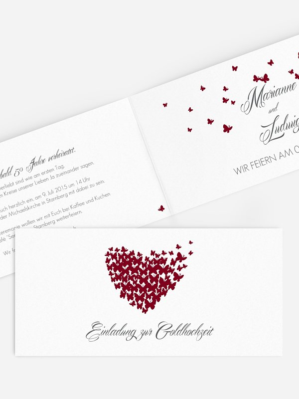 Einladung zur Goldenen Hochzeit Butterflies