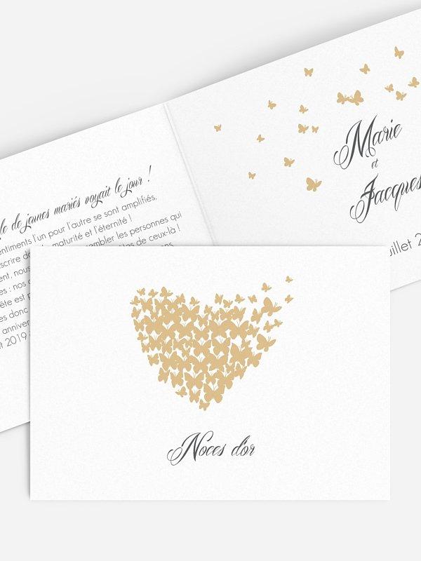 Invitation Anniversaire Mariage 50 Ans Envolee De Papillons