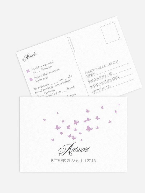 Antwortkarte Hochzeit Butterflies