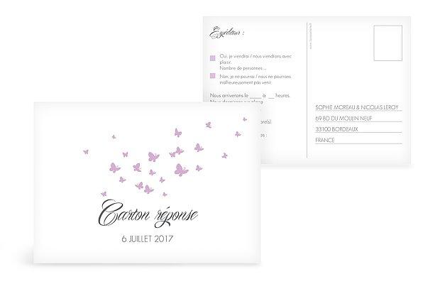 Carton réponse Envolée de papillons