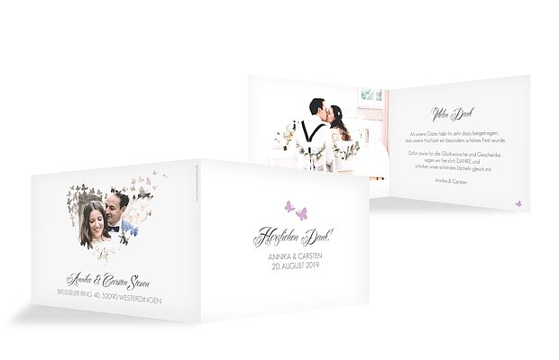 "Dankeskarte Hochzeit ""Butterflies"""