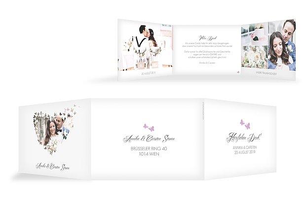 Dankeskarte Hochzeit Butterflies