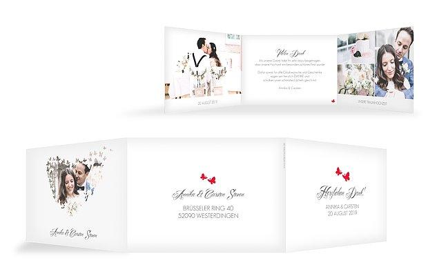 Dankeskarte Hochzeit Butterflies  C B Durchblick