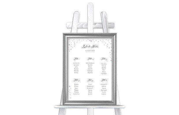 Poster plan de table mariage Envolée de papillons