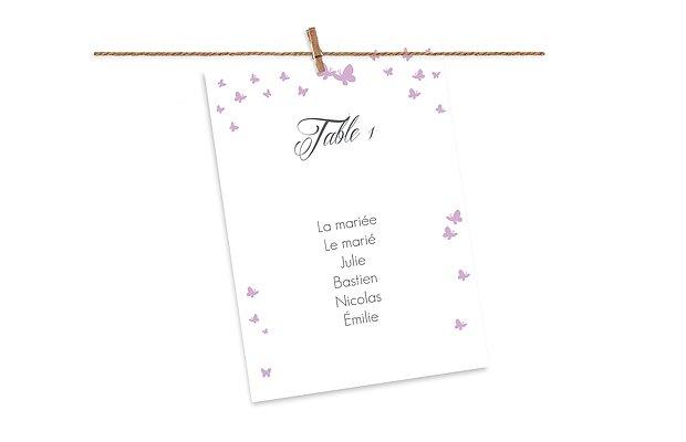 Cartons plan de table mariage Envolée de papillons