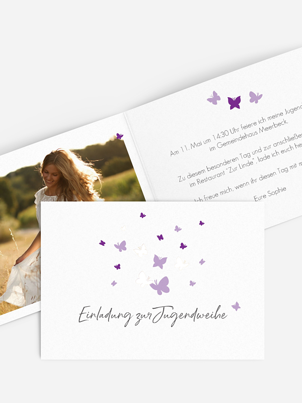 Einladung Jugendweihe Butterflies