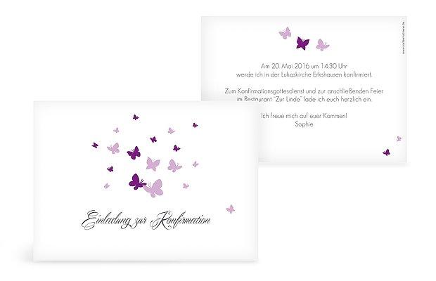Konfirmationseinladung Butterflies