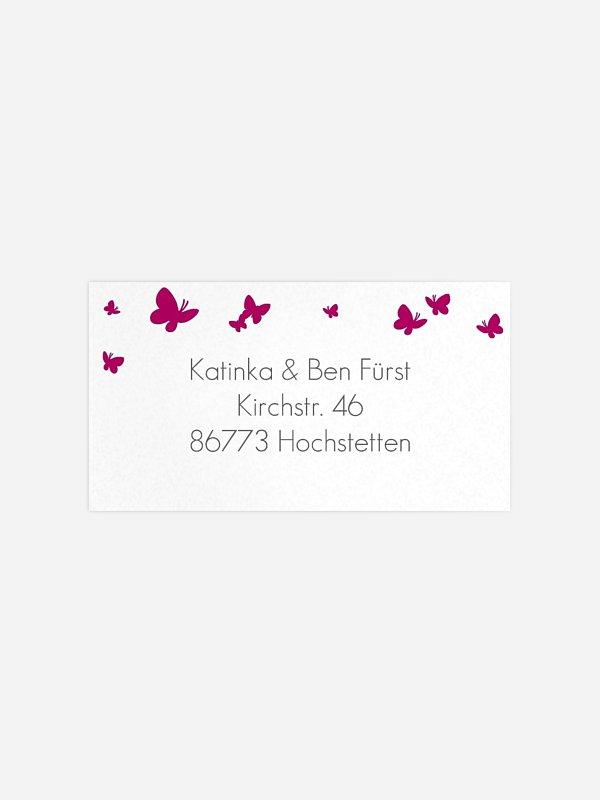 Empfängeraufkleber Hochzeit Butterflies