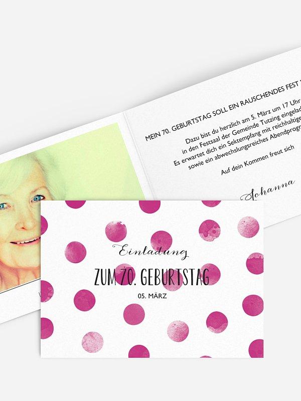 Einladung 70. Geburtstag Tüpfchen