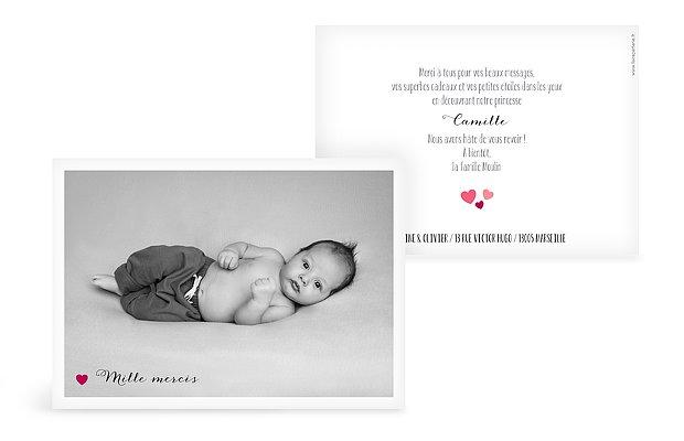 Carte remerciement naissance Notre petit coeur