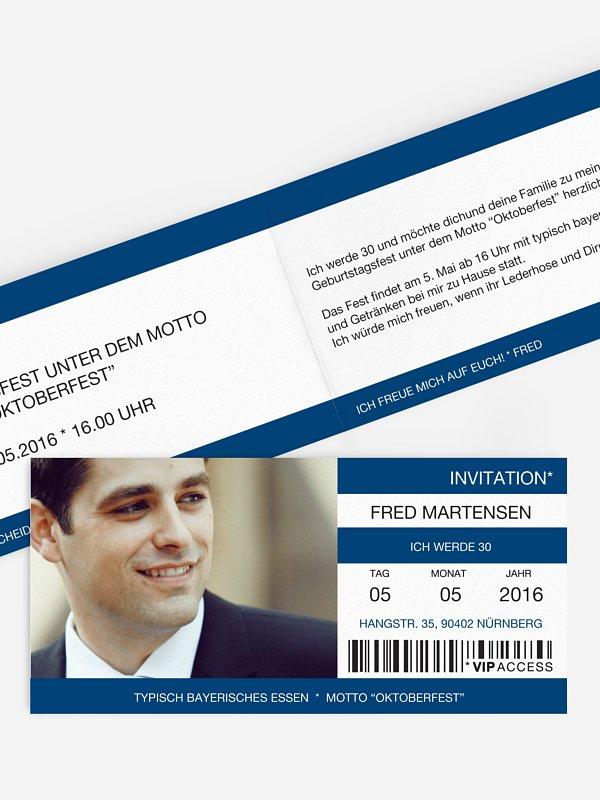 Einladung 30. Geburtstag Konzertticket