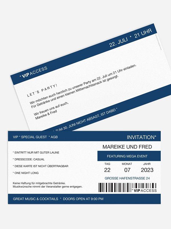 Partyeinladung Konzertticket
