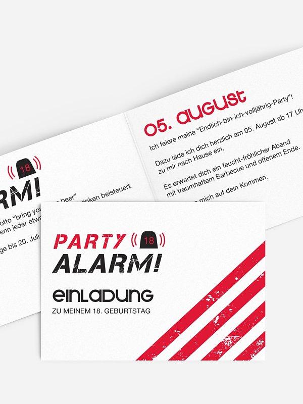 Einladung 18. Geburtstag Partyalarm