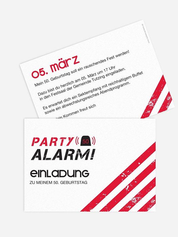 Einladung 50. Geburtstag Partyalarm