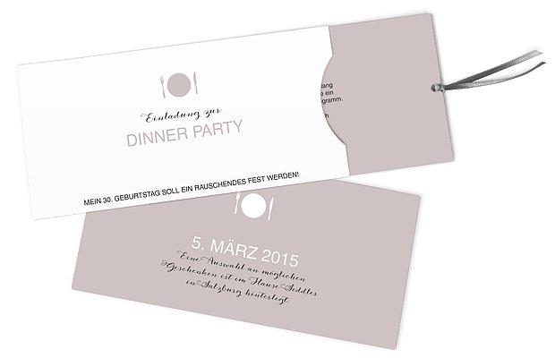Einladung 30. Geburtstag Dinnerparty