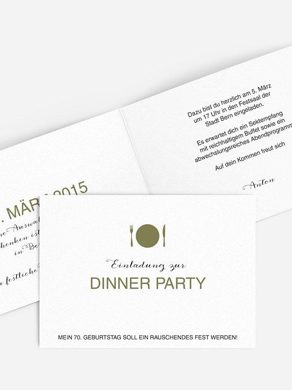 Einladung 70. Geburtstag Dinnerparty