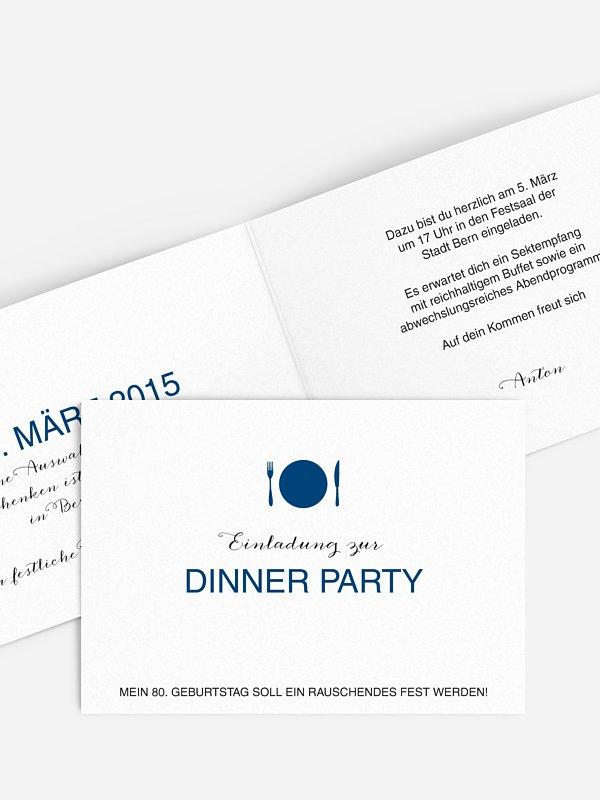 Einladung 80. Geburtstag Dinnerparty