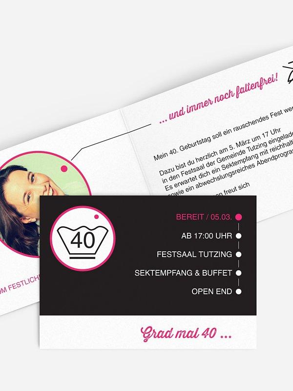 Einladung 40. Geburtstag Sauber feiern