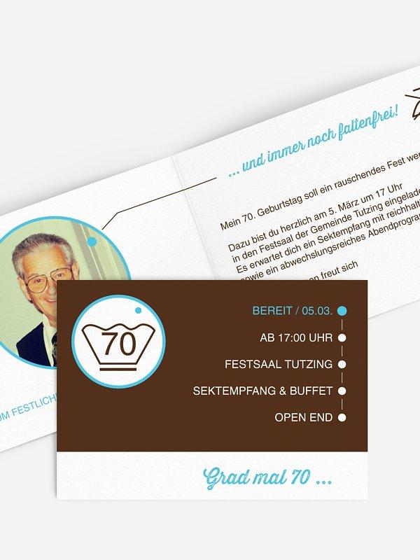 Einladung 70. Geburtstag Sauber feiern