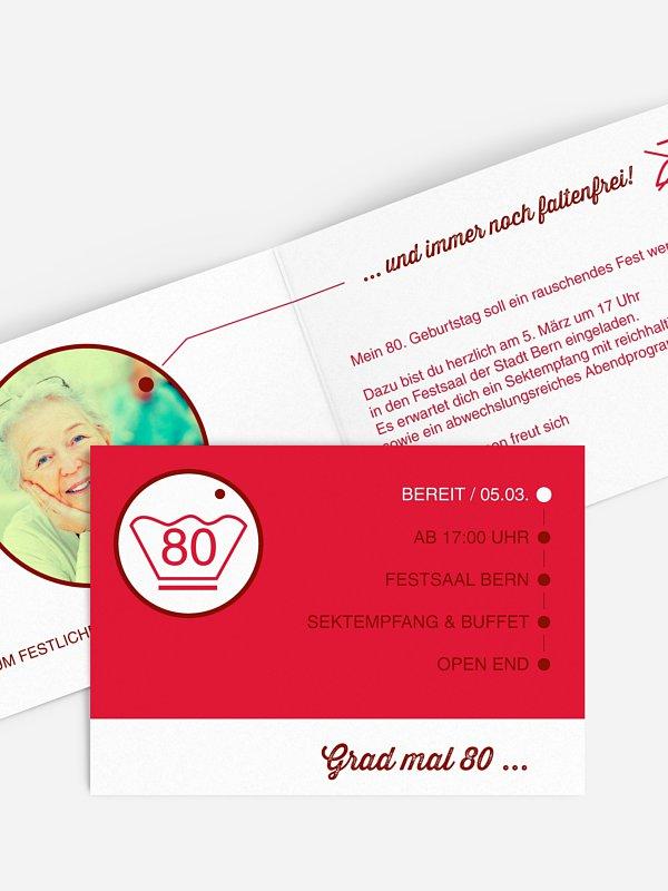 Einladung 80. Geburtstag Sauber feiern