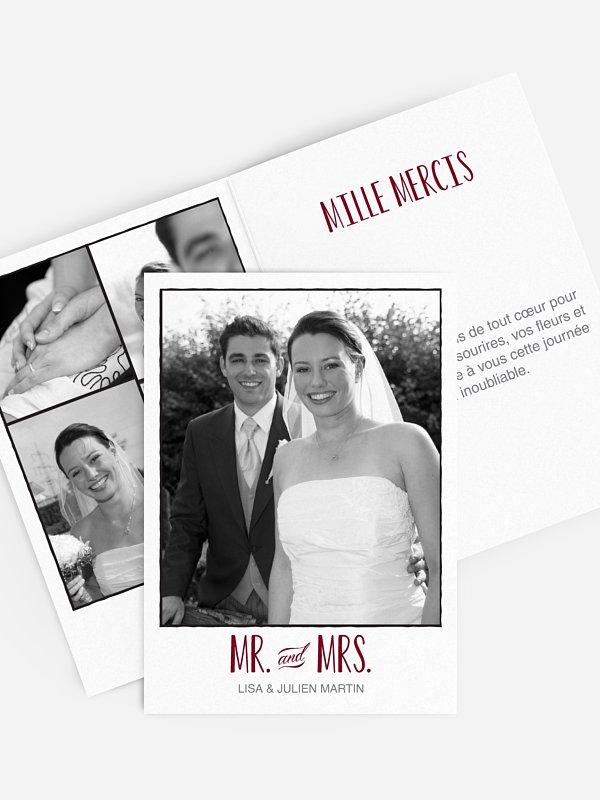 Carte de remerciements Mr. and Mrs.