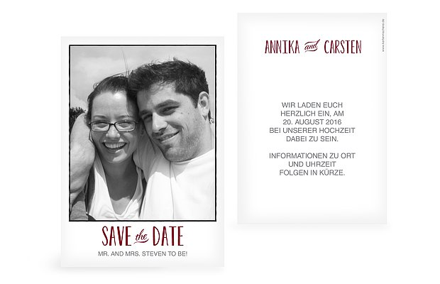 "Save-the-Date Karte ""Mr. & Mrs."""