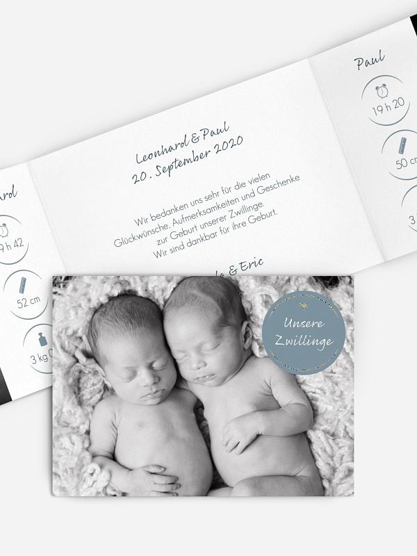 Zwillingskarte Baby Button