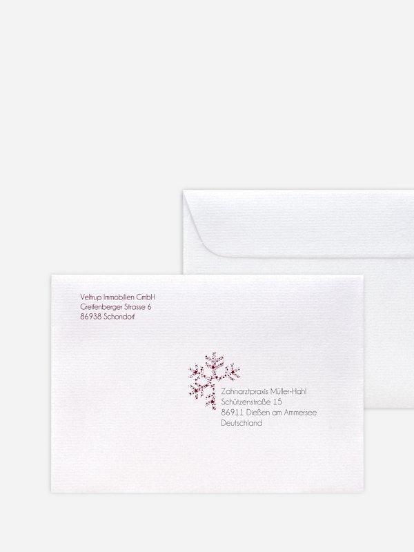 Bedruckte Umschläge geschäftl. Weihnachten Kristallstern Premium