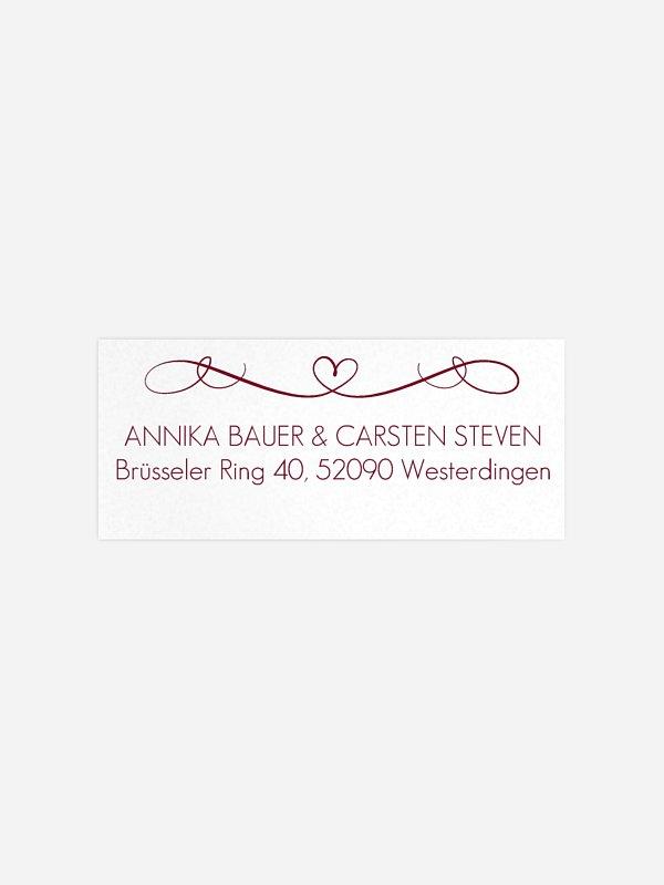 Absenderaufkleber Hochzeit Herzschlag Premium
