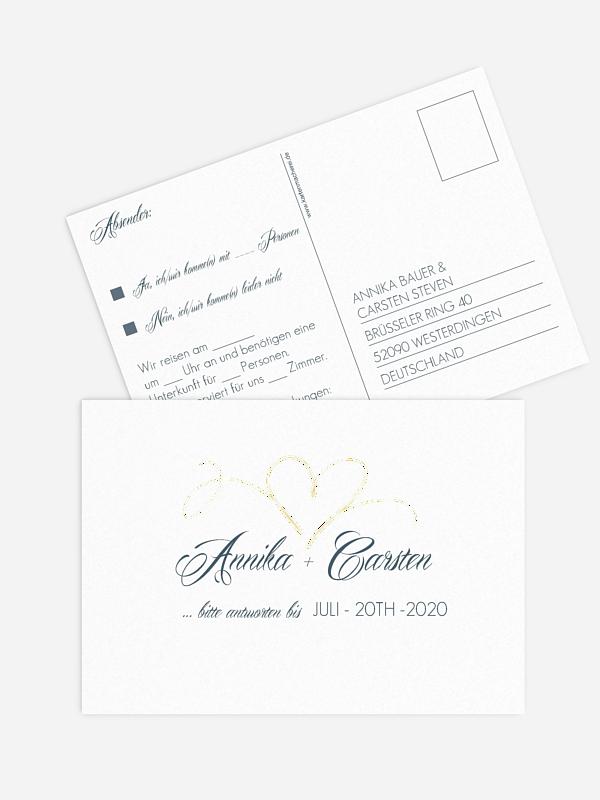 Antwortkarte Hochzeit Herzschlag Premium