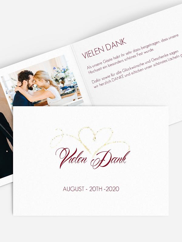 Dankeskarte Hochzeit Herzschlag Premium