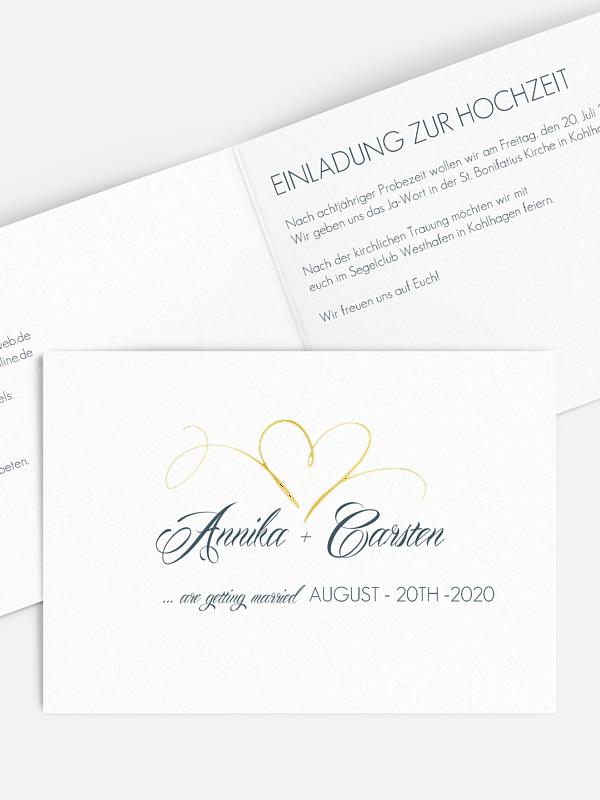 Hochzeitseinladung Herzschlag Premium