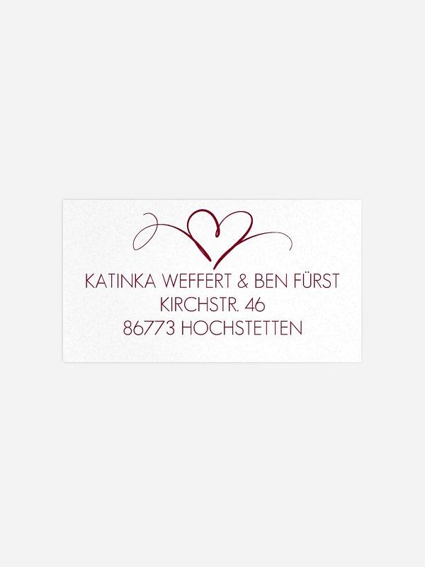 Empfängeraufkleber Hochzeit Herzschlag Premium