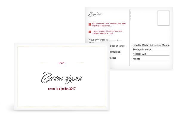 Carton réponse Intemporel Premium
