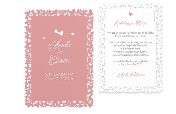 Hochzeitseinladung Butterflies Lasercut