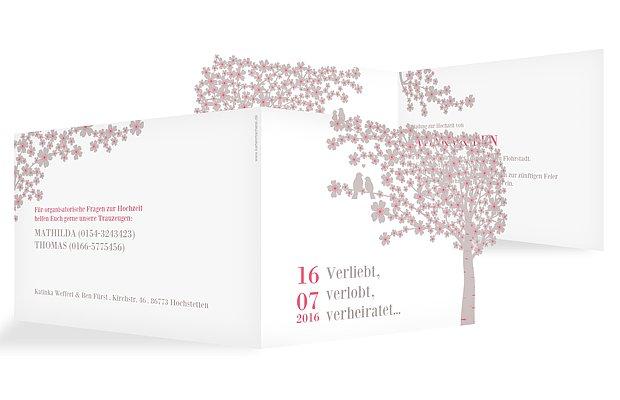 Hochzeitseinladung Kirschblüten Lasercut