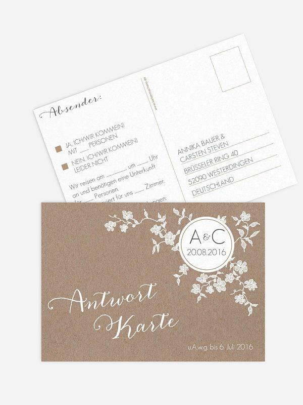 Antwortkarte Hochzeit Spitzenblüte