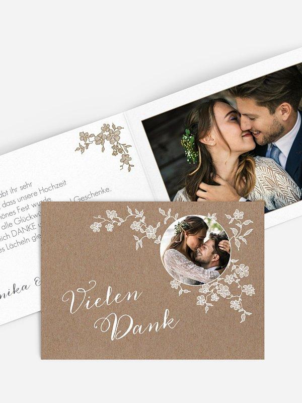 Dankeskarte Hochzeit Spitzenblüte