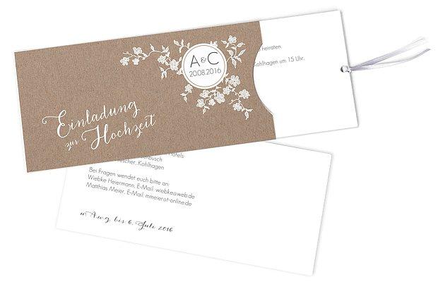 Hochzeitseinladung Spitzenblüte