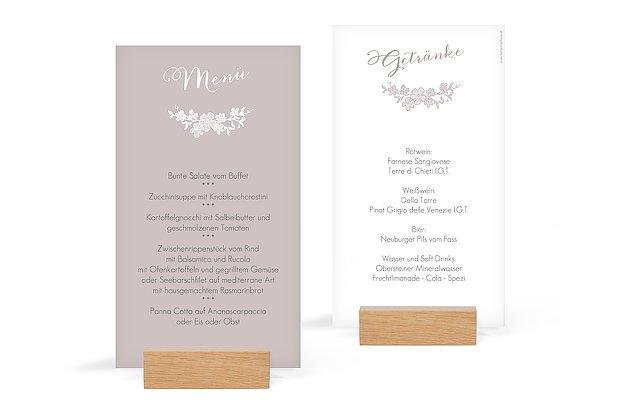 Menükarte Hochzeit Spitzenblüte
