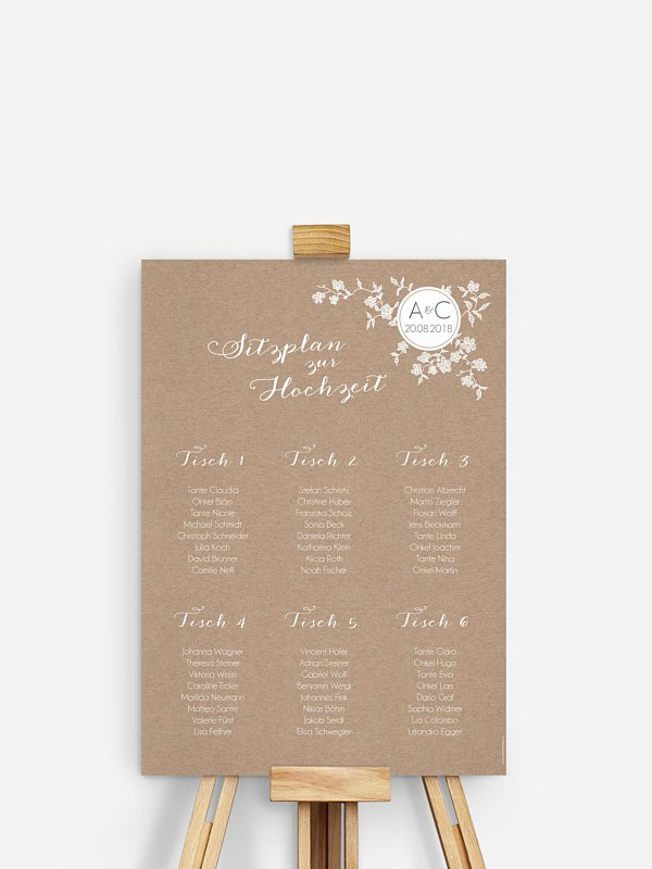 Sitzplan Plakat Spitzenblüte