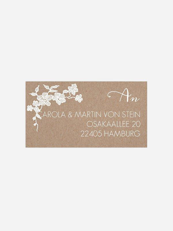 Empfängeraufkleber Hochzeit Spitzenblüte