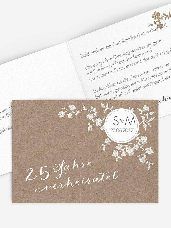 Einladung zur Silberhochzeit Spitzenblüte