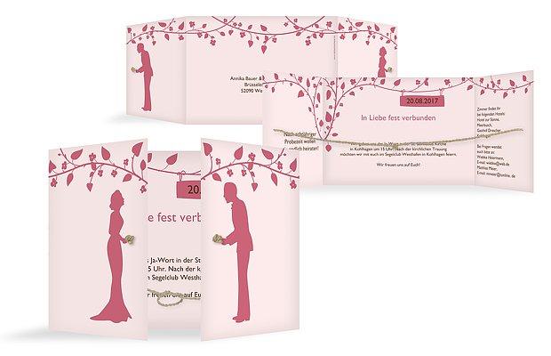 Hochzeitseinladung Romantisch mit Kordel