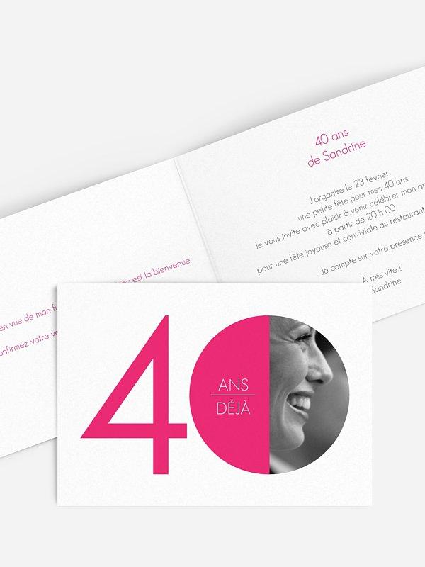 invitation anniversaire 40 Chiffre rond