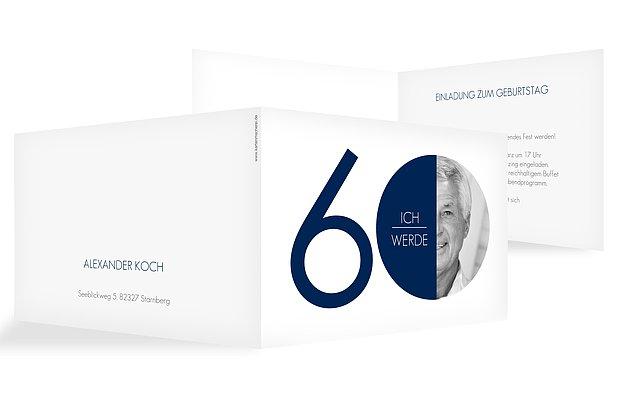 """Einladungskarten 60. Geburtstag """"Runde Nummer"""""""