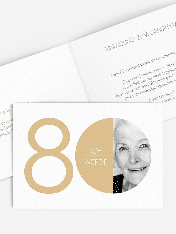 Einladung 80. Geburtstag Runde Nummer