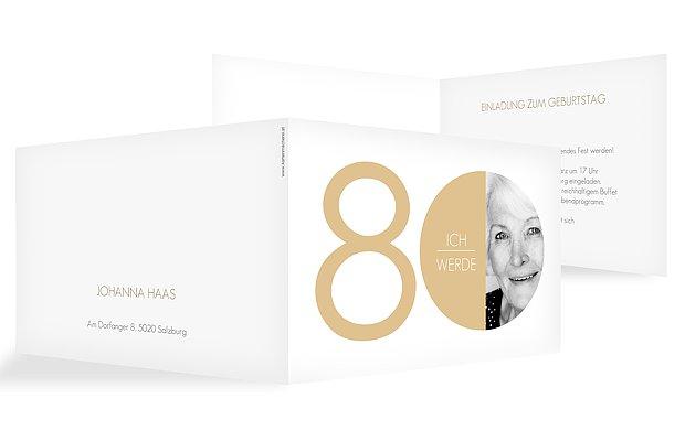 """Einladungskarten 80. Geburtstag """"Runde Nummer"""""""